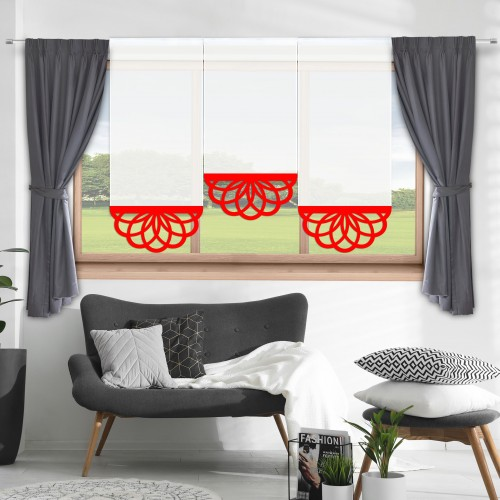 Firana panelowa do salonu z ażurem 797-12 w7 czerwony