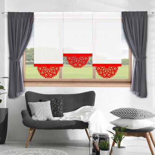 Firana panelowa do salonu z ażurem 797-12 w8 czerwony