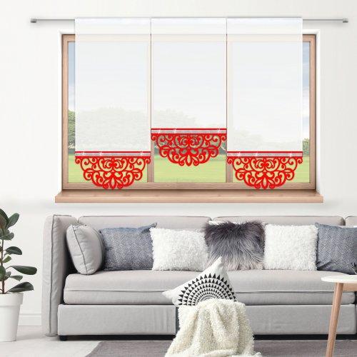Firana panelowa do salonu z ażurem i cyrkoniami 797-12 w1 czerwony