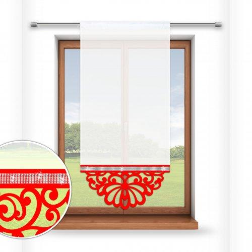 Firana panelowa do salonu z ażurem i cyrkoniami 797-12 w2 czerwony