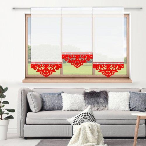 Firana panelowa do salonu z ażurem i cyrkoniami 797-12 w4 czerwony