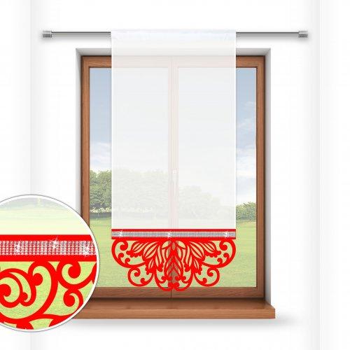 Firana panelowa do salonu z ażurem i cyrkoniami 797-12 w5 czerwony