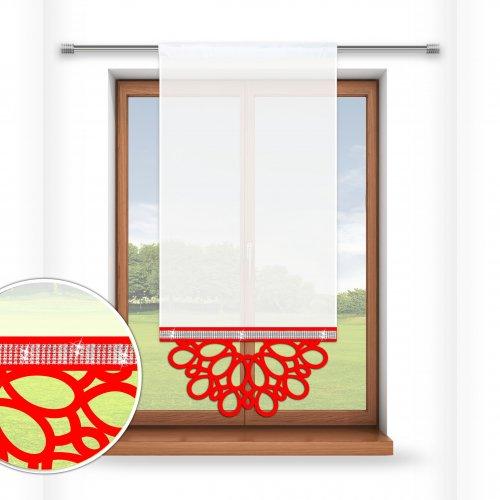 Firana panelowa do salonu z ażurem i cyrkoniami 797-12 w6 czerwony