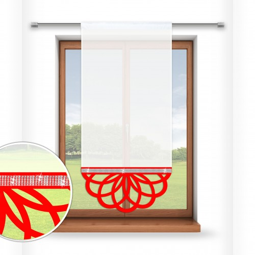 Firana panelowa do salonu z ażurem i cyrkoniami 797-12 w7 czerwony