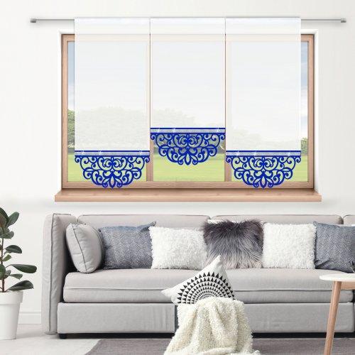 Firana panelowa do salonu z ażurem i cyrkoniami 797-15 w1 chabrowy