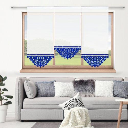 Firana panelowa do salonu z ażurem i cyrkoniami 797-15 w3 chabrowy