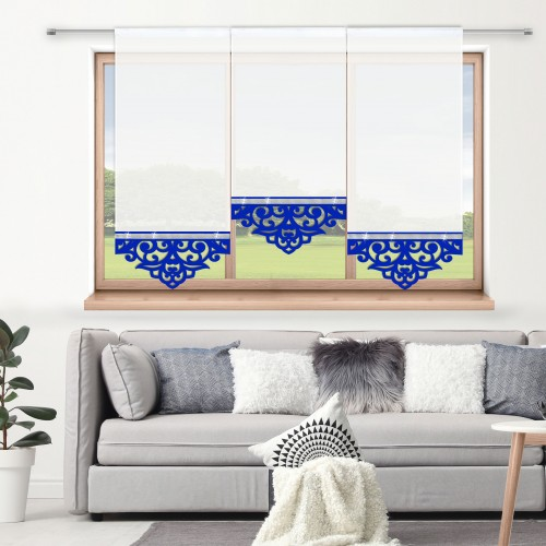 Firana panelowa do salonu z ażurem i cyrkoniami 797-15 w4 chabrowy