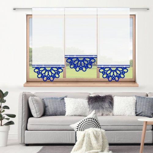 Firana panelowa do salonu z ażurem i cyrkoniami 797-15 w5 chabrowy