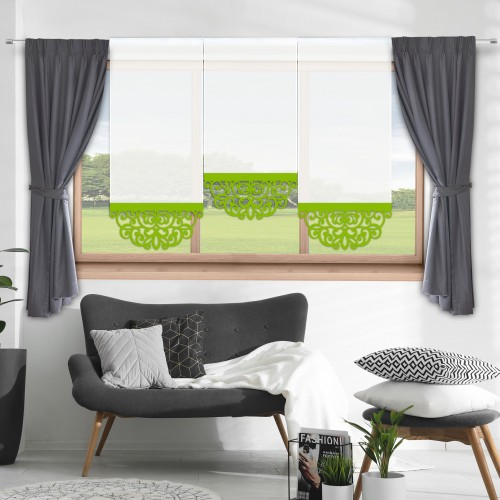 Firana panelowa do salonu z ażurem 797-24 w1 seledynek