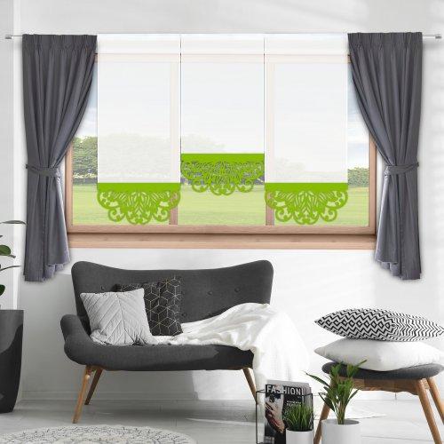 Firana panelowa do salonu z ażurem 797-24 w5 seledynek