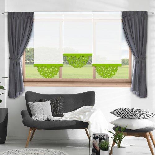 Firana panelowa do salonu z ażurem 797-24 w8 seledynek