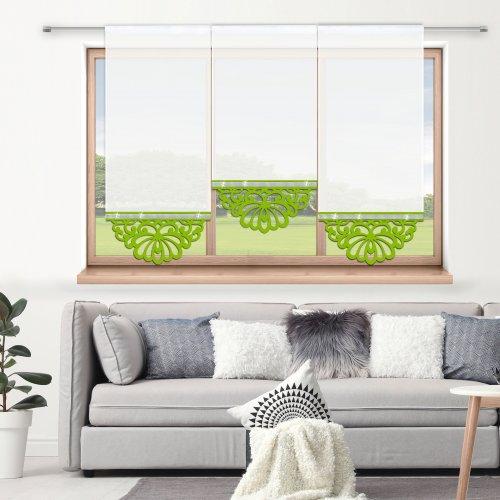 Firana panelowa do salonu z ażurem i cyrkoniami 797-24 w2 seledynek