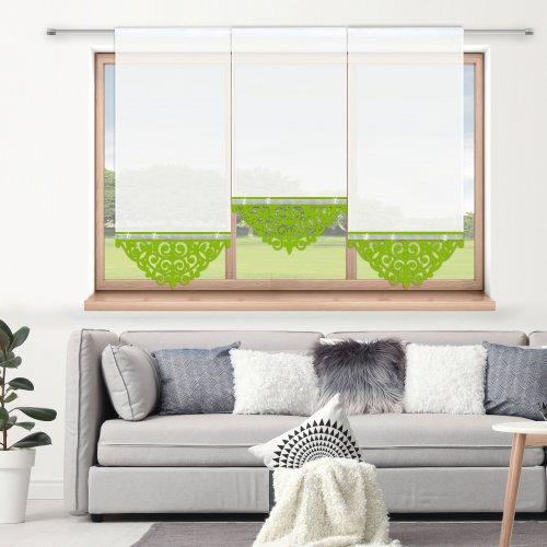 Firana panelowa do salonu z ażurem i cyrkoniami 797-24 w3 seledynek