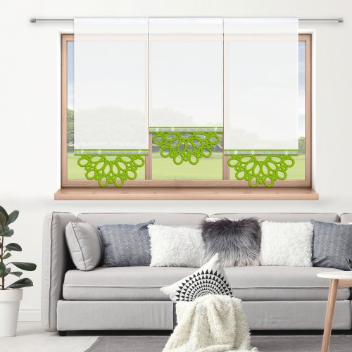 Firana panelowa do salonu z ażurem i cyrkoniami 797-24 w6 seledynek