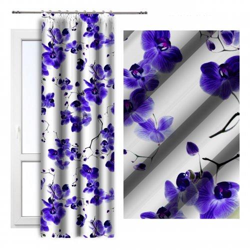Zasłona dekoracyjna na taśmie ORCHIDEE 140x250 181-18 fiolet na żabki