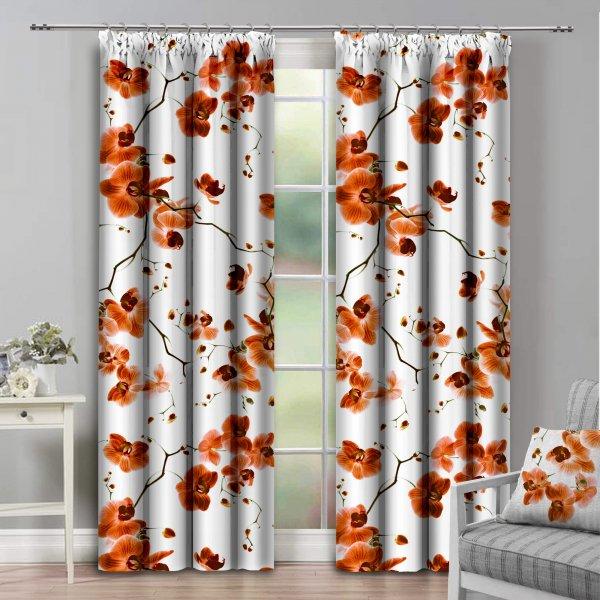Zasłona dekoracyjna na taśmie ORCHIDEE 140x250 181-06 pomarańcz na żabki
