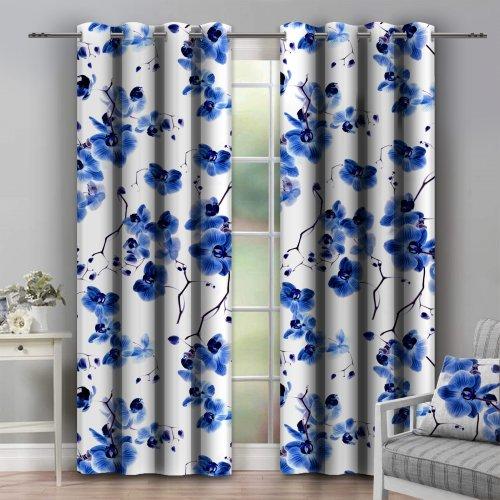 Zasłona dekoracyjna na przelotkach ORCHIDEE 140x250 181-90 niebieski na kółkach srebrnych