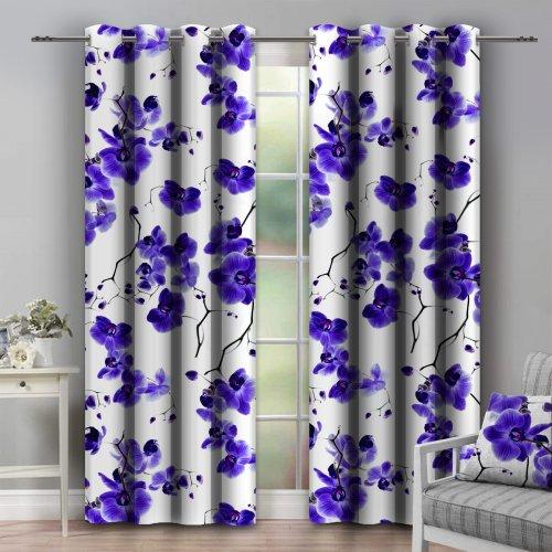 Zasłona dekoracyjna na przelotkach ORCHIDEE 140x250 181-18 fiolet na kółkach srebrnych