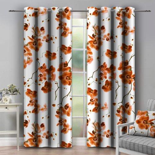 Zasłona dekoracyjna na przelotkach ORCHIDEE 140x250 181-06 pomarańcz na kółkach srebrnych