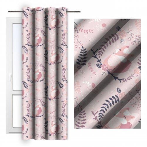 Zasłona gotowa na przelotkach D404-338-01 różowe lisy