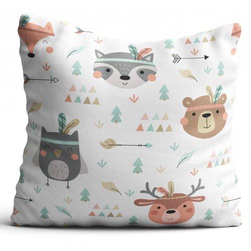 Poszewka dekoracyjna dla dzieci D404-337-01 leśne zwierzątka boho