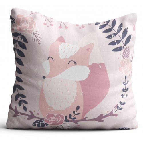 Poszewka dekoracyjna dla dzieci D404-338-01 różowe lisy