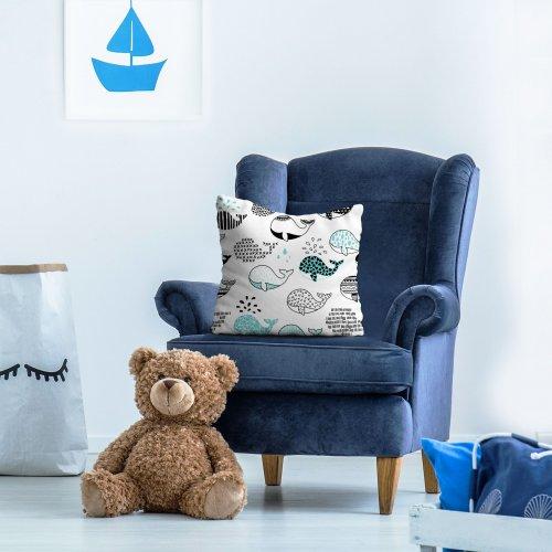 Poszewka dekoracyjna dla dzieci D404-340-01 wieloryby
