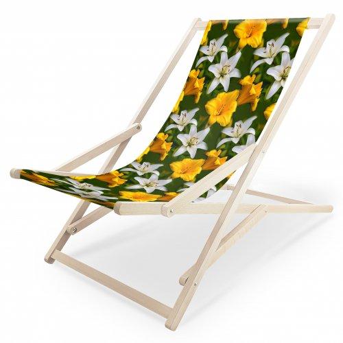 Leżak drewniany bujany XXL Prestige 794 V434-100 lilie