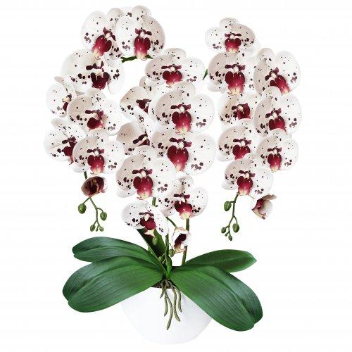 Sztuczny Storczyk Orchidea 3 pędowy 70cm 861-03 Biały nakrapiany