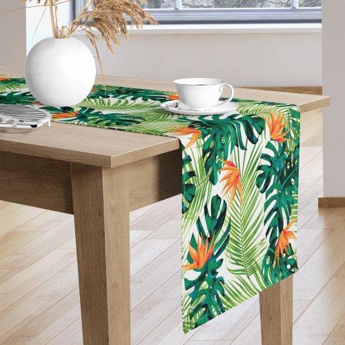 Bieżnik na stół kolorowy D404-694-01 Liście monstery kwiat