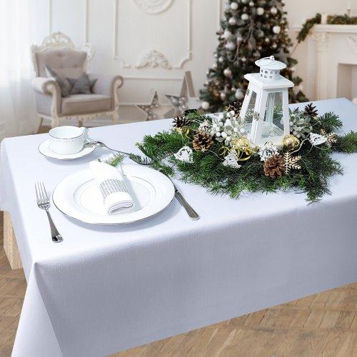 Obrus na stół plamoodporny PREMIUM U414-01 biały