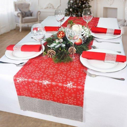Bieżnik na stół plamoodporny z cyrkoniami MERRY CHRISTMAS 298-12-32 czerwony ze srebrną nitką