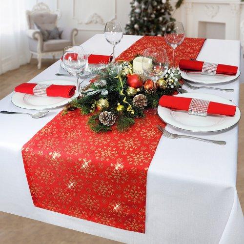 Bieżnik na stół plamoodporny MERRY CHRISTMAS 298-12 czerwony