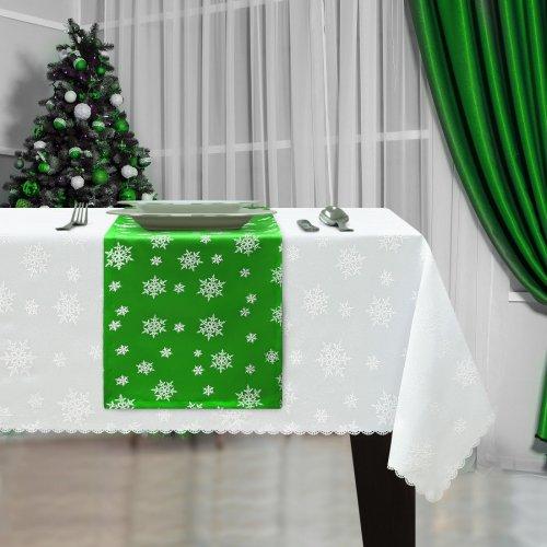 Bieżnik Świąteczny na stół ŚNIEŻYNKA Boże Narodzenie 914-25-01 zielony biały