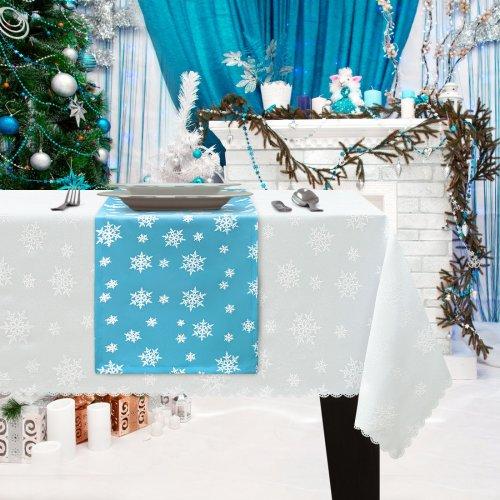 Bieżnik Świąteczny na stół ŚNIEŻYNKA Boże Narodzenie 914-14-01 błękitny