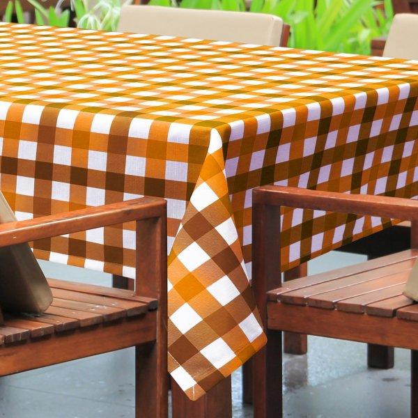 Obrus plamoodporny PICNIC 439-04 biało pomarańczowo rudy