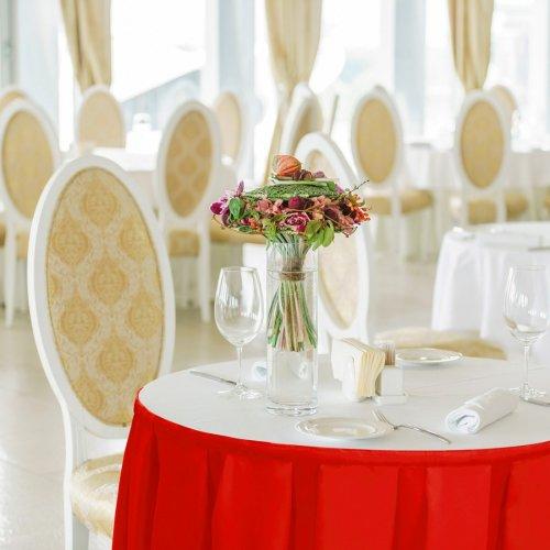 Falbana do stołów GŁADKI GOLD 401-12 czerwony