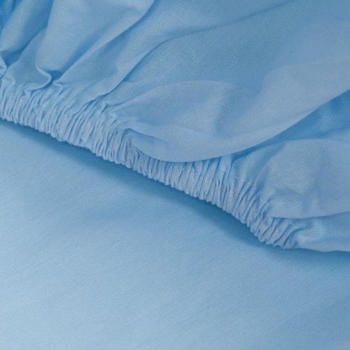 Prześcieradło bawełniane LUKSUSOWE Z GUMKĄ 307-14 błękitne