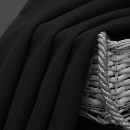 Zasłona gotowa na przelotkach SUNSET 404-34 czarna na kółkach srebrnych