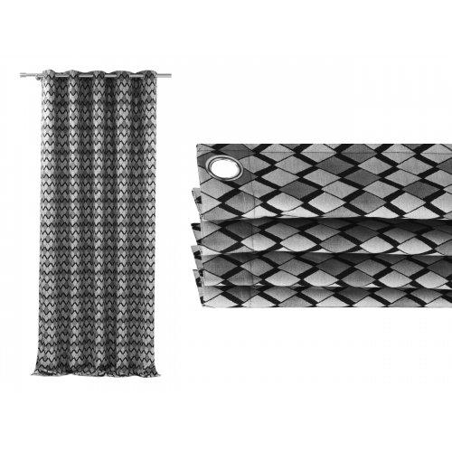 Zasłona gotowa na przelotkach BLACK SILVER 508 na kółkach srebrnych
