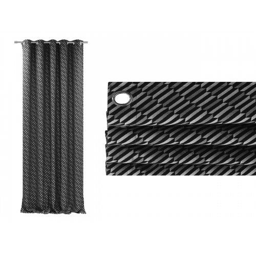 Zasłona gotowa na przelotkach BLACK SILVER 510 na kółkach srebrnych