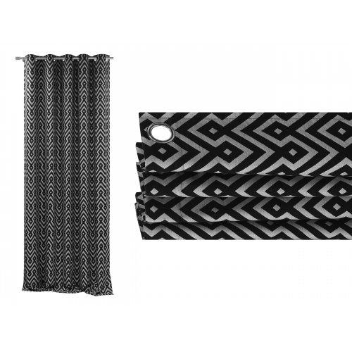 Zasłona gotowa na przelotkach BLACK SILVER 511 na kółkach srebrnych
