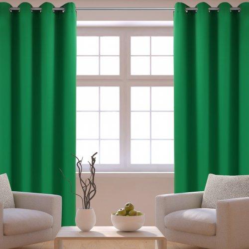Zasłona gotowa na przelotkach HEAVEN zielona mocna na kółkach srebrnych