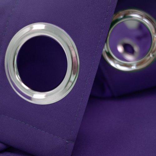 Zasłona gotowa na przelotkach HEAVEN fioletowa na kółkach srebrnych