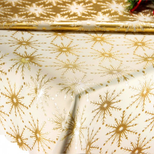 Obrus Świąteczny GALAXY STAR GOLD 299-63 ecru złoty