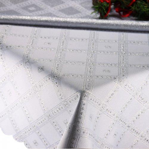 Obrus Świąteczny SILVER GLAMOUR 296-32 biały srebrny