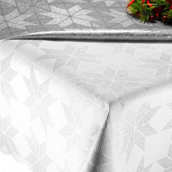 Obrus Świąteczny ETA CARINAE 297-32 biały srebrny