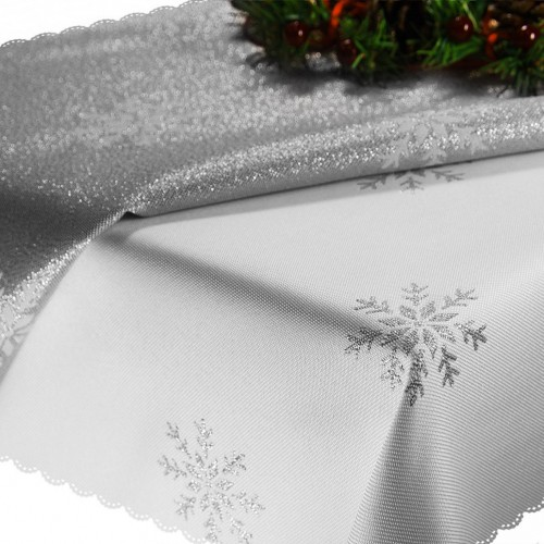 Obrus Świąteczny CHRISTMAS SNOWFLAKE 459-32wp biały srebrny