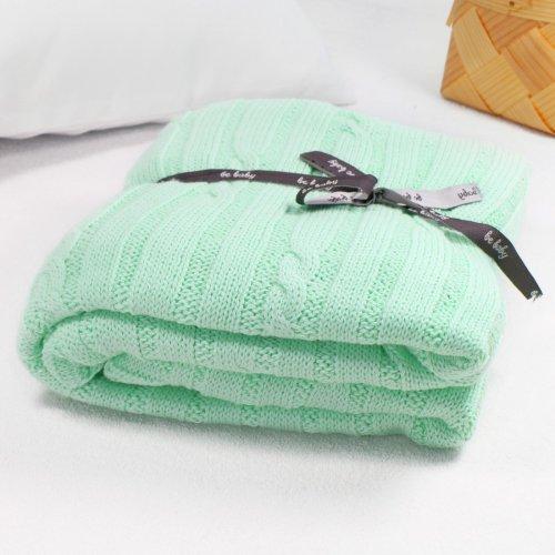 Kocyk bawełniany dla dziecka ONLY BABY 100x75 535-47 miętowy