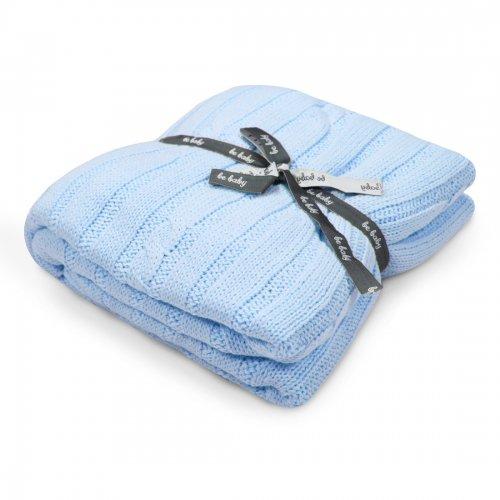 Kocyk bawełniany dla dziecka ONLY BABY 100x75 535-90 niebieski